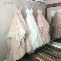 Блестящие Тюль Свадебные платья блеск материал оборками юбка Слои свадебное платье 2019 новый индивидуальный заказ