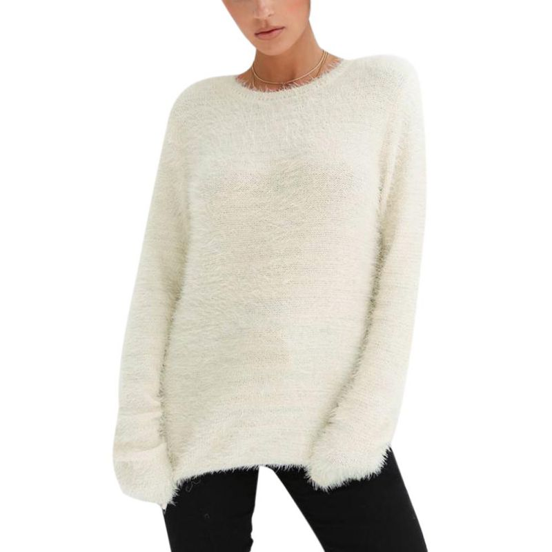 Fall 2018 Knitted Sweater Women O-neck Long Sleeve Pullovers Oversized Winter Tops Soft Warm Black White Fur Sweaters