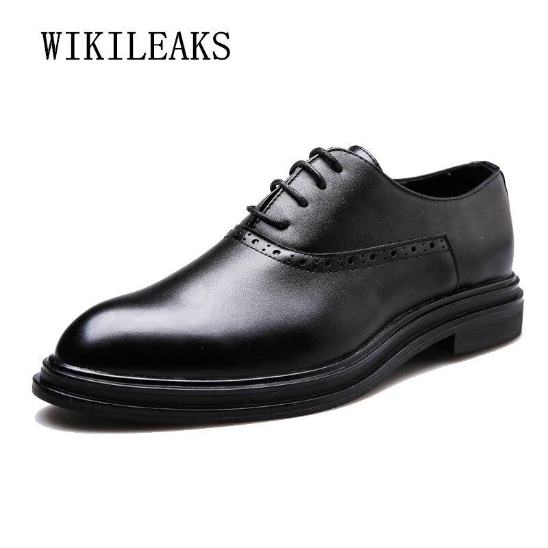 Chaussures pour hommes italiens marques chaussures oxford pour hommes en cuir véritable chaussures de mariage formelles chaussures habillées d'affaires zapatos hombre vestir
