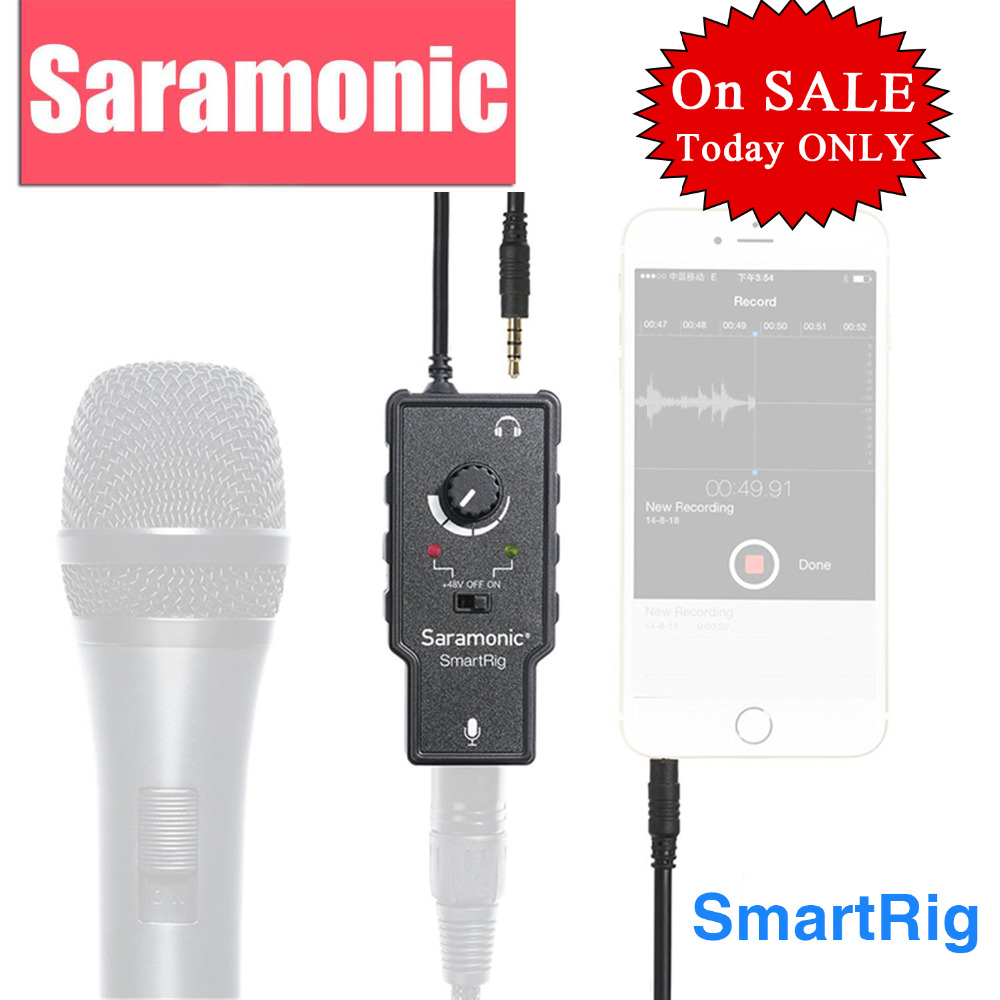 Saramonic XLR Karaoke microfoon voorversterker Audio-adapter voor Apple iPad iPhone 8 7 6 Plus Smartphone Camera Camcorder Gitaar