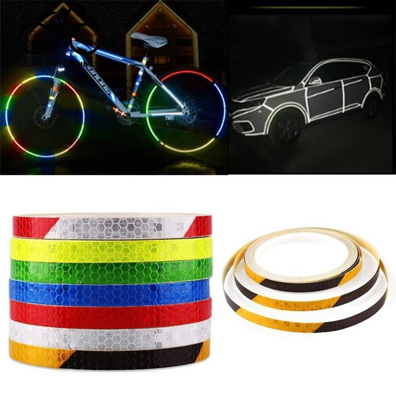 8m Reflective Bike Motorcycles Sticker DIY Safety Warning Tape Bright Glow Night Decal Self Adhesive Reflective Sticker Tape