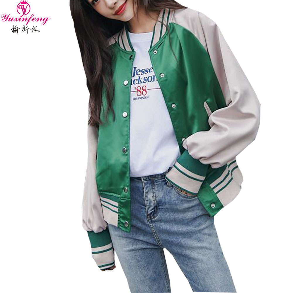 Yuxinfeng 2019 Fall Zipper   Basic     Jacket   Women New style Korean Stripe Patchwork Ladies Bomber   Jackets   Casual Streetwear outwear