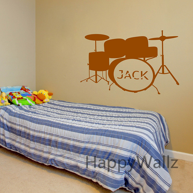 Custom Name Drum Wall Stickers Drum Wall Decals Baby Nursery Name ...