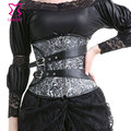 Silver and Black Steel Boned Underbust Corset Waist Trainer Corsets For Women Slimming Waist Cincher Ziper Sexy Gothic Lingerie