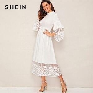 Image 3 - SHEIN Elegante Mock Neck Stickerei Organza Manschette und Saum Lange Kleid Frauen Herbst Fit und Flare Kleid Reich Abaya kleider