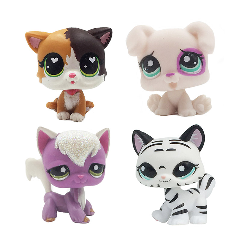 New Pet Shop Lps Toys Cat Felina Meow Short Hair Kitty With White Heart Green Eyes Child Collectible Gifts