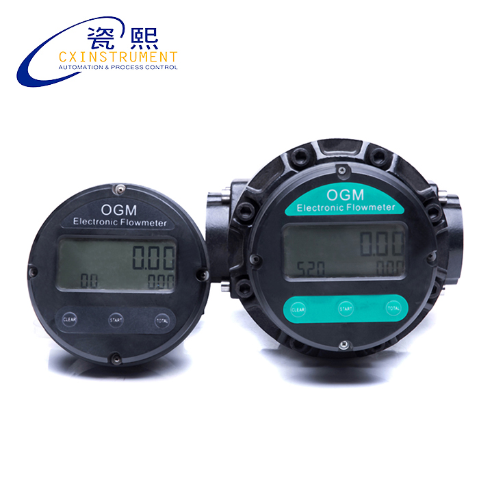 The Digital OGM Flow Meter Pulse Output Local LCD Display 20~120 L/min Range DN25 Female Thread Connection Oval Gear Flow Meter