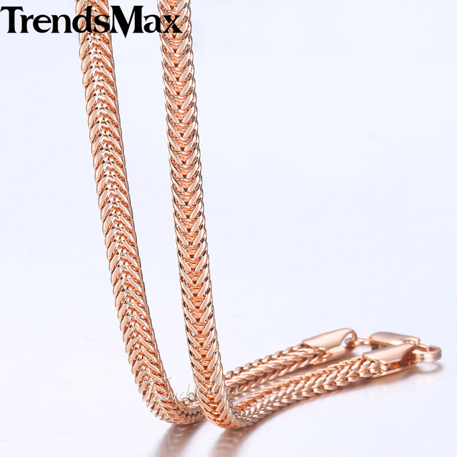 8894e6f771bf8 US $4.99 |Trendsmax 4mm 585 Rose Gold Chain Necklaces For Women Men Foxtail  Link Chain Gifts For Women Men 2018 Fashion Jewelry 60cm GN344-in Chain ...