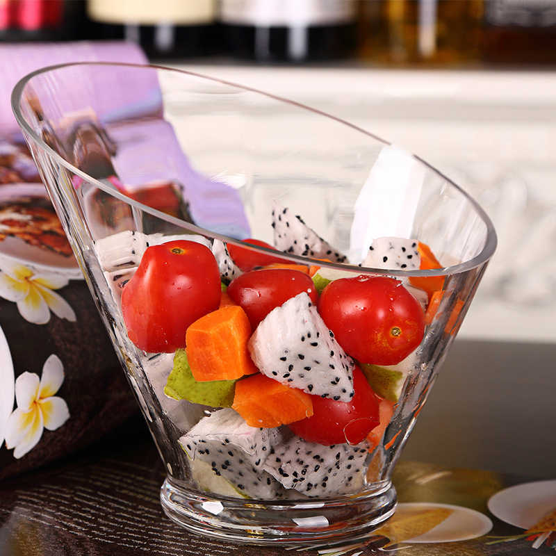 Lead-Free Glass Salad Bowl Food Containers Christmas Tableware Restaurant Fruit Bowl Round Noodles Dinnerware Large Vessels 1pcs