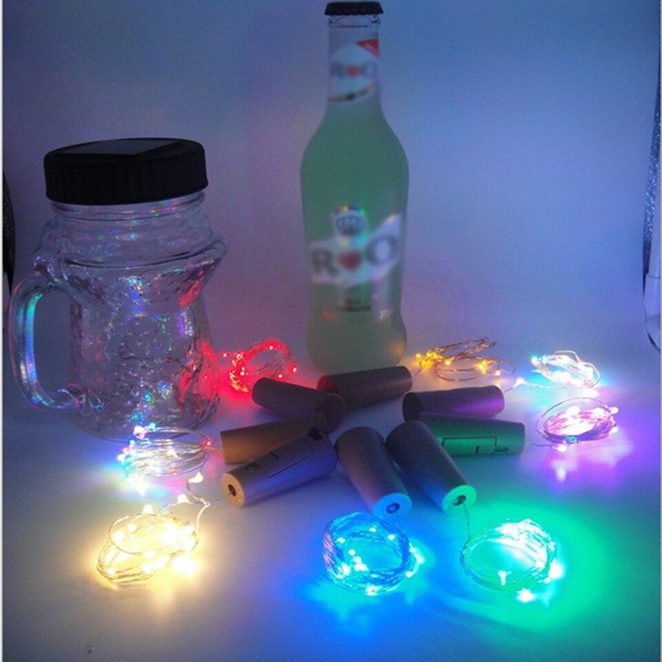 2 м 20 светодиодный S светильники в форме винных бутылок с пробкой встроенный аккумулятор светодиодный в форме пробки Серебряный медный провод красочные сказочные мини-гирлянды