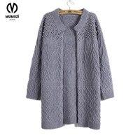 Women Long Cardigan 2017 Autumn Winter Size XL Korean Style Beadings Pearls Long Knitted Sweater Outwear Knitwear