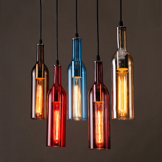 Personalized LED Bottle Pendant Lights Restaurants Bars Cafes Clothing  Stores Colored Beer Bottles Decorative Pendant Lamps