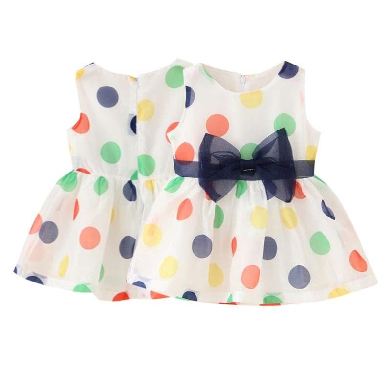 Fashion Baby Girl Dress Summer Girls Bow Vest Dress Infant Girl Sleeveless Dot Dress Baby Birthday Dress Clothes 2-7Y