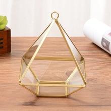 New Nordic Style Diamond Shape Box Organizer Brass Geometry Glass Cosmetic Storage Jewelry Collection Decoration Gift