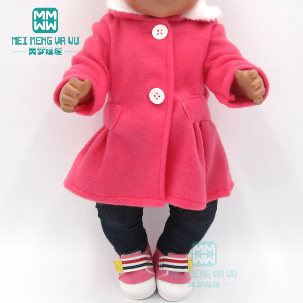 Clothes For Doll Fit 43cm Toy New Born Doll And American Doll Accessories Fur Collar Coat + Baby Tights