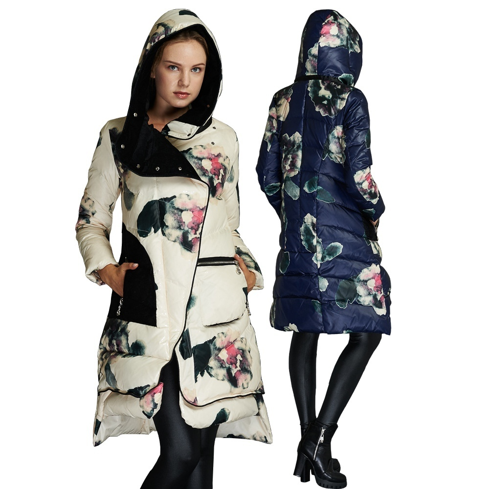 Winter women's fashion printing   down   jacket girls long thicken keep warm   down     coat   winter loose   down     coat   for women 80999