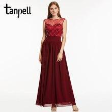 8c2bebac69a Tanpell perlée robes de soirée perle rose bateau cou sans manches longueur  de plancher une ligne robe pas cher femmes formelle l.