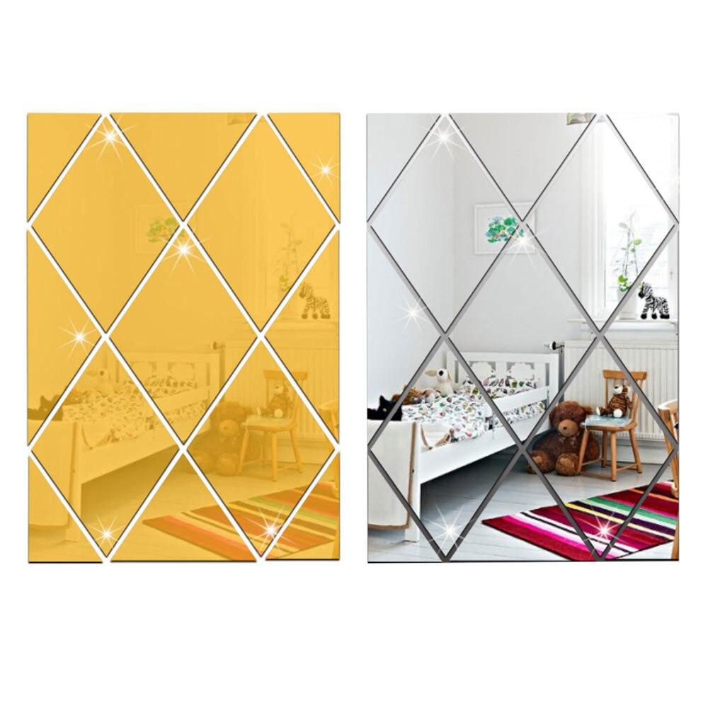 Sticker Mural mode acrylique décor 17 pièces maison effet miroir étanche Mural bricolage vivant amovible beau Art diamant - 6