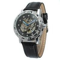 Forsining классический ретро Дизайн diamond Дисплей роскошный синий руками открытые рабочие модные часы Для мужчин лучший бренд механические скел...