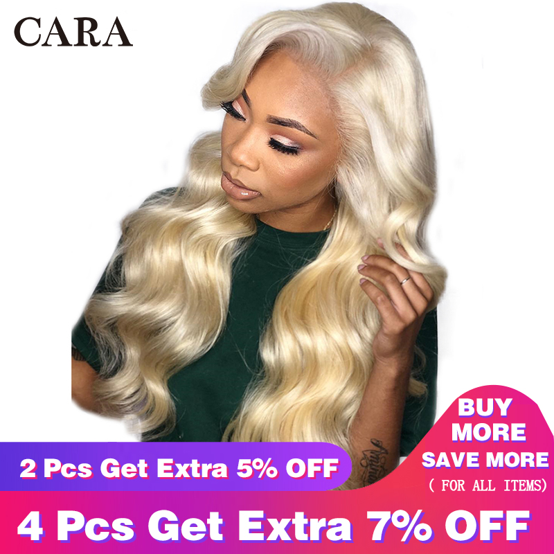 613 Blonde Lace Front Wig Brazilian Human Hair Wig 150% 360 Lace Frontal Wig Pre Plucked With Baby Hair CARA Remy Body Wave Wig
