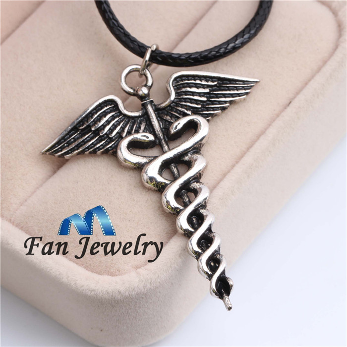 Wholesale Percy Jackson Angle Wings Magic Wand Caduceus Pendant Necklace Gift Movies Jewelry XL232