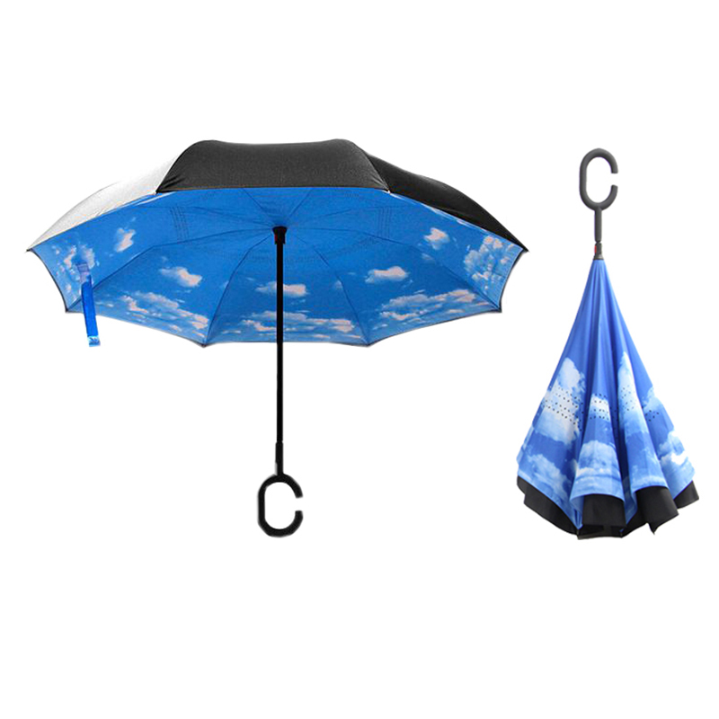 Folding C-Handle Reverse Parasols Rain Windproof Umbrella Double Layer Inverted
