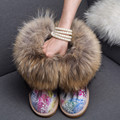 2016 Noble Women Snow Boots Large Natural Fox Fur Ankle Boots Female Real Nubuck Leather Winter Boots Raccon Fur Low Flats Shoes
