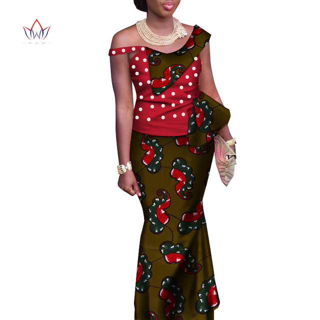 18872761051 traditional Clothing For Women Ruffles Top and Skirt ankle-length vintage  Set Print 2 Piece Plus Size African Dashiki WY3494