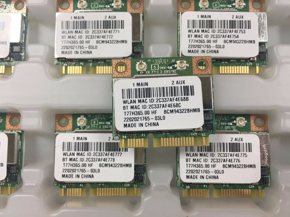 Broadcom BCM943228HMB  Foxconn T77H365.00 HF 300M 802.11 A/b/g/n + Bluetooth 4.0 For Asus Acer Sony