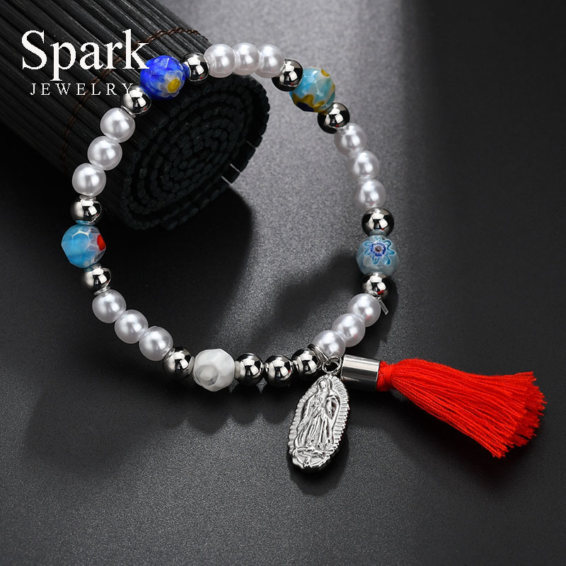 Charm Tassel Virgin Mary Strand Bracelets For Women Evil Eyes Stones Elastic Pendant Bracelets With Beads Religious Jewelry