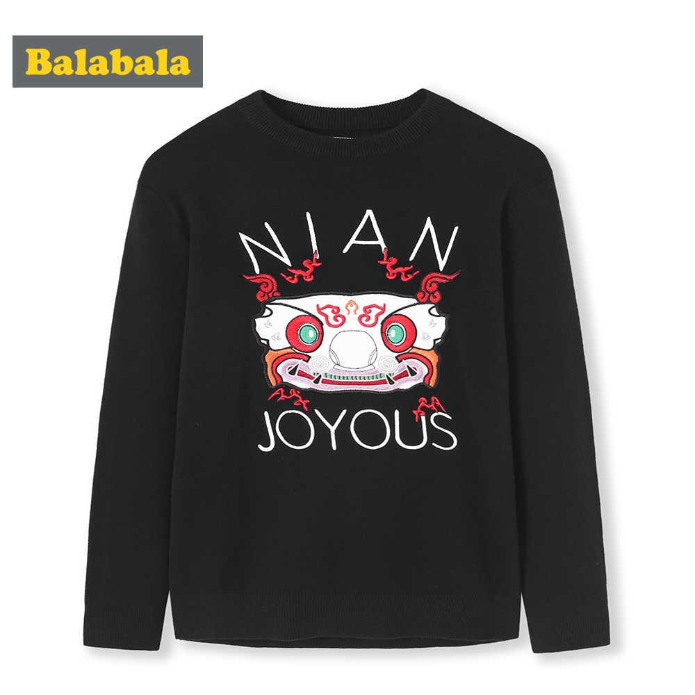 Balabala Jongens Grafische Sweater Lange Mouwen Kinderen Tiener Jongens Zachte Gebreide Trui Gedrukt Lente Herfst Kleding