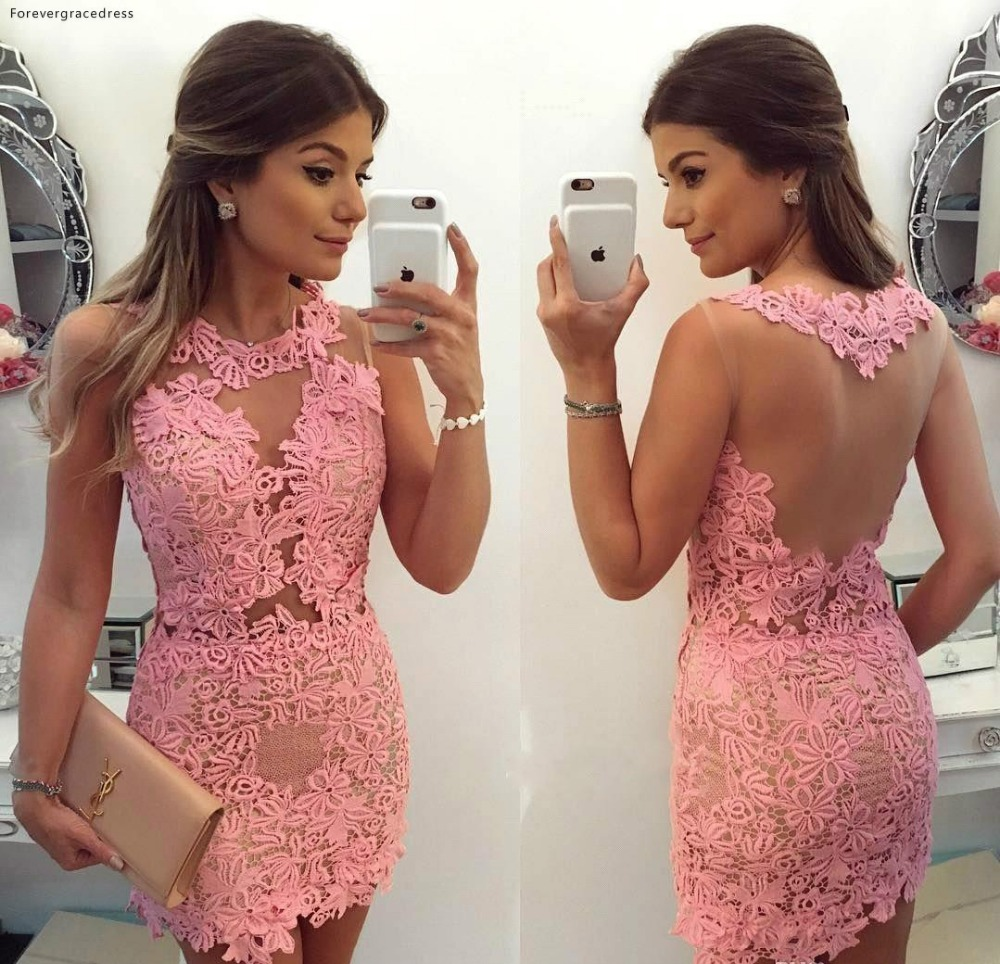 Sexy Pink Cocktail Dresses 2019 Illusion Sheer Neck Girls Club Wear Graduation Homecoming Party Gowns Plus Size Custom Made