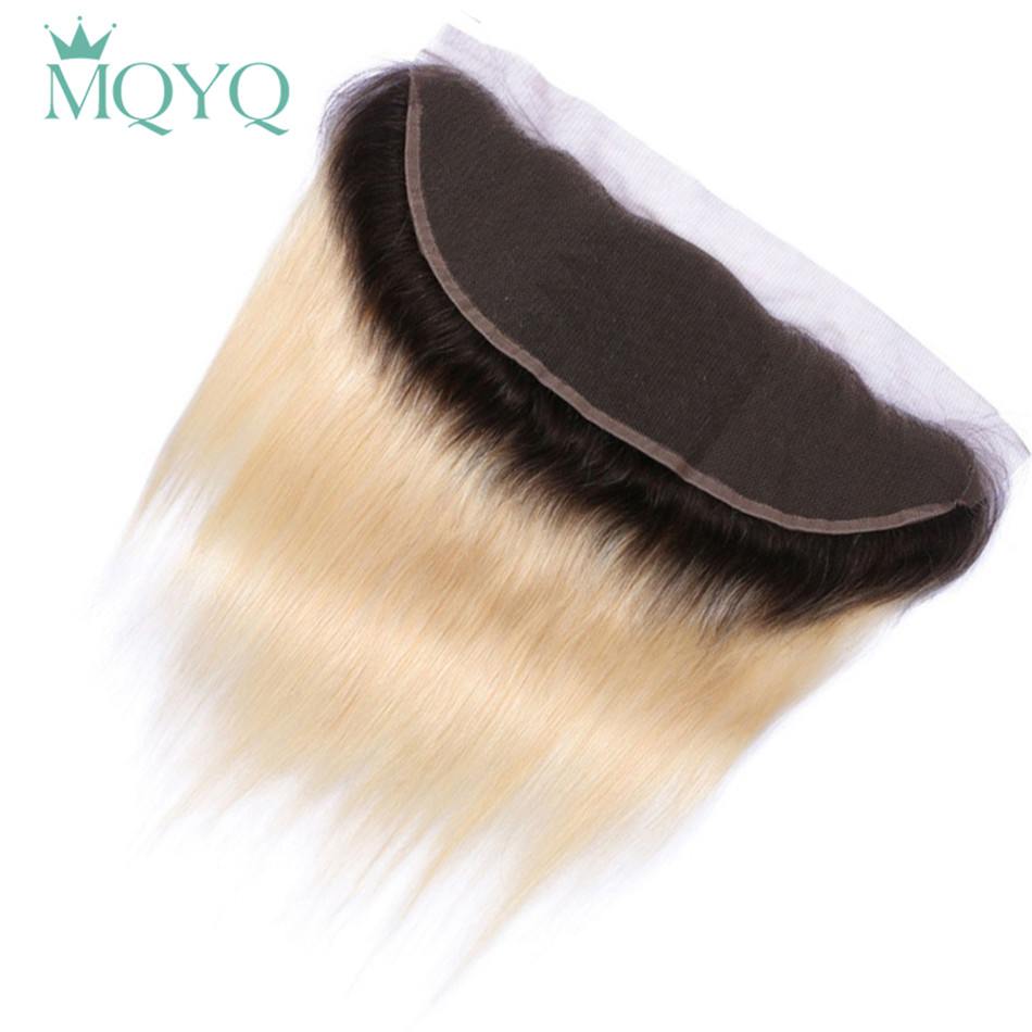 MQYQ Ombre бразильский Волосы remy 13X4 кружева Фронтальная застежка 1b/613 русый Кружева Фронтальная застежка прямо человеческих волос плотность 130%