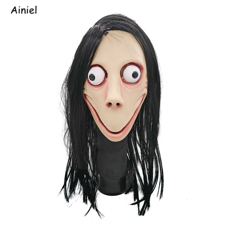 Us 16 9 11 Off Momo Games Mask Scary Halloween Costume For Women Long Haired Female Mask Ghost Cosplay Halloween Mask Momo In Movie Tv Costumes