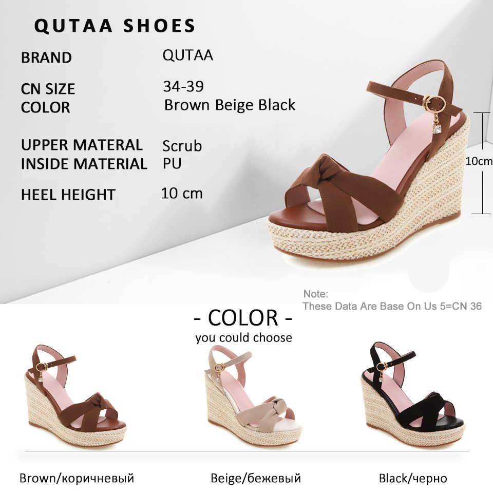 QUTAA 2019 kadın sandalet saman dokuma kama yüksek topuk kelebek düğüm yuvarlak açık parmaklı platformu toka Slingback ayakkabı boyutu 34-39