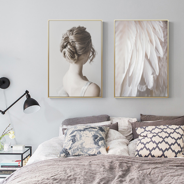 Modern You are My Angle Beauty Feather Prints Art Canvas Paintings