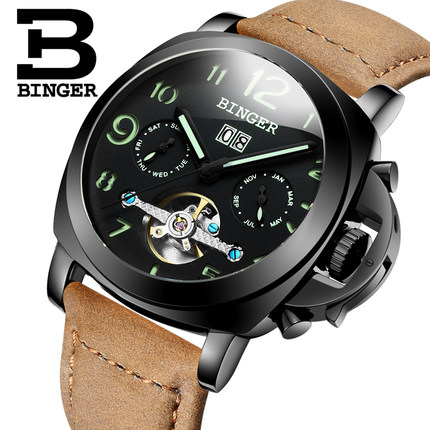 New Binger 2017 Hot Sell Fashion Cool Black Table Men Steel Leather Watches Casual Men Sport Watch Luxury Automatic Wristwatch hollow brand luxury binger wristwatch gold stainless steel casual personality trend automatic watch men orologi hot sale watches