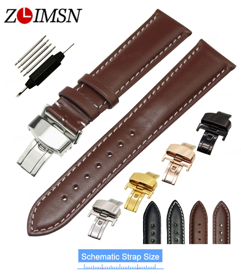 ZLIMSN Smooth Genuine Leather Men's Watch Band Strap Replacement Black Brown 18 20 22 24mm Watchband Butterfly Deployment Buckle цена