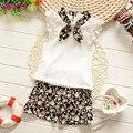 2016 meninas Do Bebê longo-manga comprida t-shirt + calças terno rendas arco bolso de trás da kitty cat dot meninas terno de algodão do bebê da princesa conjunto