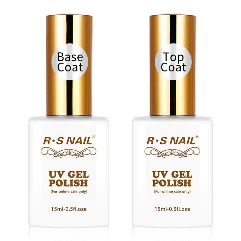 R.S NAIL 15ml Top and Base Coat Gel Nail Polish Manicure Easy Soak Off primer for nails UV LED Nail Art Transparent Gel Polish