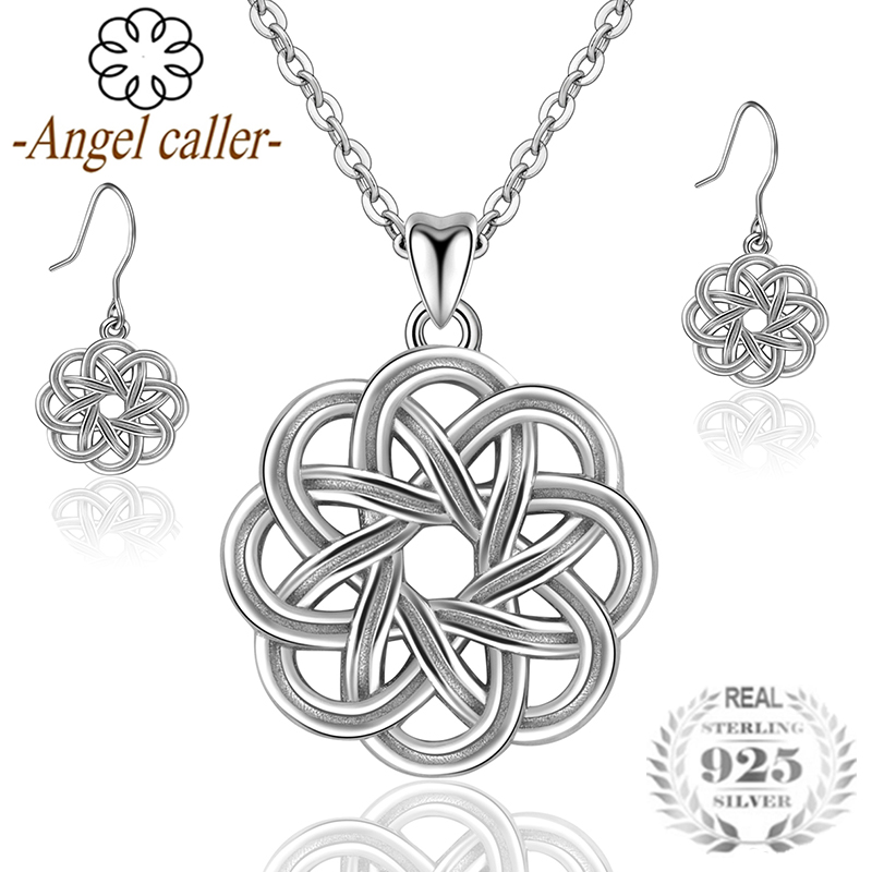 Angel Caller 925 Sterling Silver Celtics Knot Jewelry Sets Round Vintage Pendant Necklaces Earrings Flower Love Dangle Earrings silver vintage flower pattern plain round hoop earrings