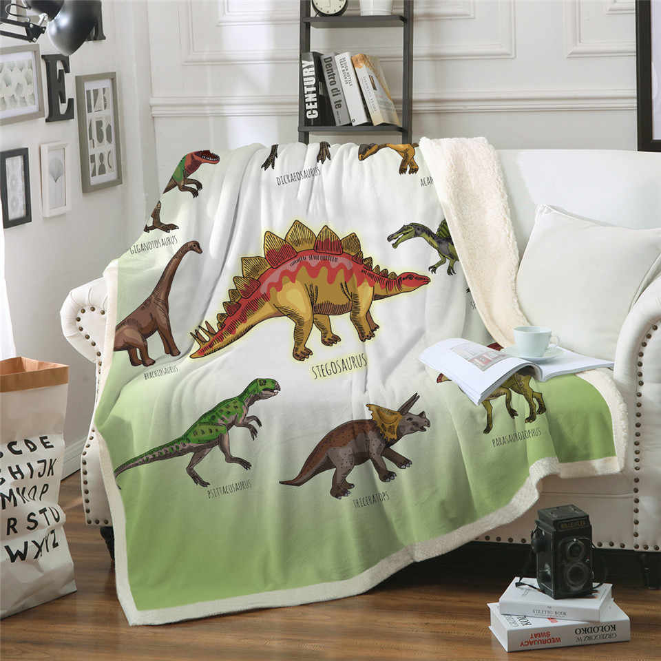 3D Dinosaur Sherpa Throw Blanket Jurassic Printed Bedspread For Kids Stegosaurus Plush Blanket Boys Cartoon Bedding