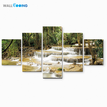 wall cooing monopoly Canvas Painting Decorative painting tropical rainforest small stream water landscape natural tree pattern