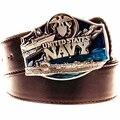 Cool hombres cinturón de cuero hebilla de metal soldado americana de marina de los estados unidos cinturones cinturón exagerada del punk rock hip hop faja