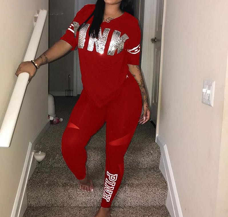 Merah Muda Huruf Cetak Baju Olahraga Wanita Dua Sepotong Set 2018 Musim Semi Plus Ukuran Atasan Kaos dan Celana Set Pakaian Kasual Bodcon 2 Sepotong Set