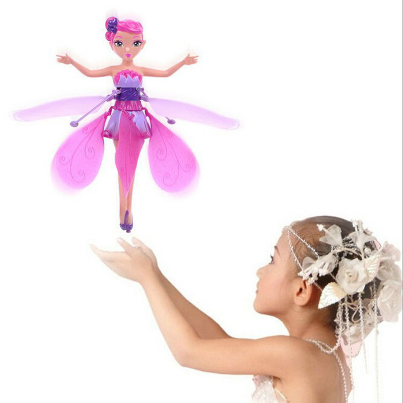 New Flying Fairy Pink Theme Party Toys Induction Control Fashion Flying Boneca Kids Gifts Toy Light Electronic Wholesale best girl toys 2017