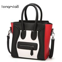 Longmiao frauen Lächeln Gesicht Tote Handtaschen Marke Designer Damen Trapez Smiley Taschen Pu-leder Tote Crossbody Taschen Bolsa