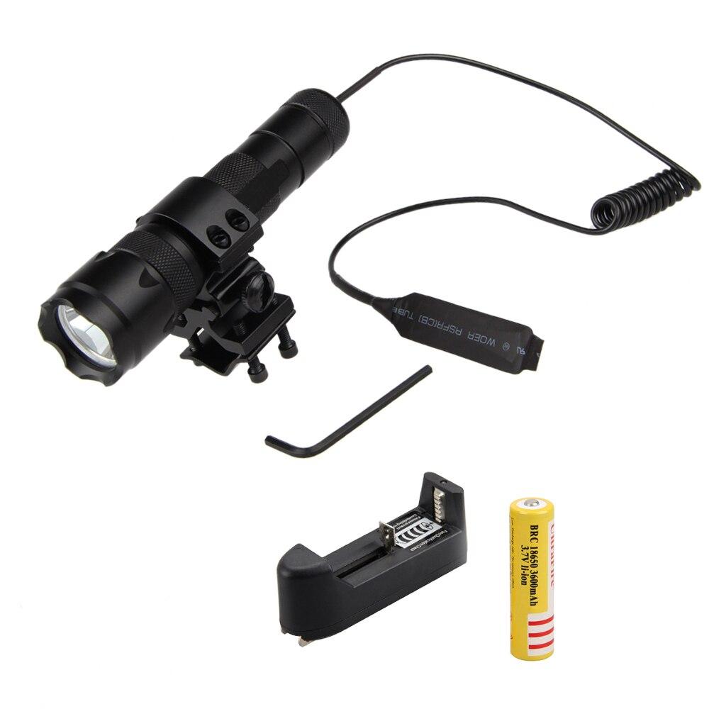 WF-502B 1000LM Green Q5 LED Flashlight Hunting Light Torch+Mount Gun+Remote Pressure Switch+Charger anjoet led hunting flashlight 6000 lumens 3 x xml t6 5mode 3t6 torch light suit gun mount remote pressure switch charger