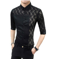 2018 New Hot Sale New Fashion Men Lace Patchwork Shirts Half Sleeve Slim Fit French Cuff Casual Male Social Dress Shirt