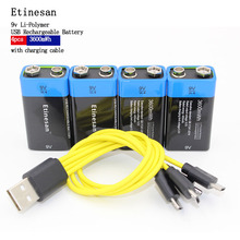NEW battery Etiesan 4pcs/lot 9V 3600MWH lithium li-ion li-poltmer rechargeable battery with USB charging cable Toy flashlight